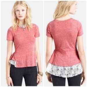Free People Peplum Lace Bottom Shirt - Small